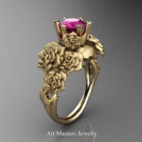 Nature Inspired 14K Yellow Gold 1.0 Ct Pink Sapphire Rose Bouquet Leaf and Vine Engagement Ring R427-14KYGSPS