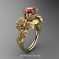 Nature Inspired 14K Yellow Gold 1.0 Ct Ruby Rose Bouquet Leaf and Vine Engagement Ring R427-14KYGSR