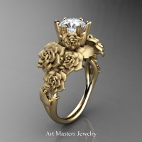 Nature Inspired 14K Yellow Gold 1.0 Ct White Sapphire Rose Bouquet Leaf and Vine Engagement Ring R427-14KYGSWS