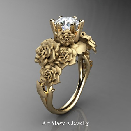 Nature-Inspired-14K-Yellow-Gold-1-0-Ct-White-Sapphire-Rose-Bouquet-Leaf-and-Vine-Engagement-Ring-R427-14KYGSWS-P