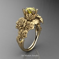 Nature Inspired 14K Yellow Gold 1.0 Ct Yellow Sapphire Rose Bouquet Leaf and Vine Engagement Ring R427-14KYGSYS