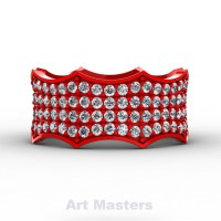 Winterfell 14K Red Gold 100 Diamond Gothic Eternity Ring R725A-14KREGD