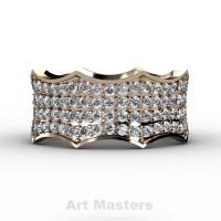 Winterfell 14K Rose Gold 100 Diamond Gothic Eternity Ring R725A-14KRGD
