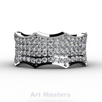 Winterfell 14K White Gold 100 Diamond Gothic Eternity Ring R725A-14KWGD