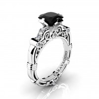 Art Masters Caravaggio 950 Platinum 1.25 Ct Princess Black and White Diamond Engagement Ring R623P-PLATDBD