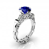 Art Masters Caravaggio 950 Platinum 1.25 Ct Princess Blue Sapphire Diamond Engagement Ring R623P-PLATDBS