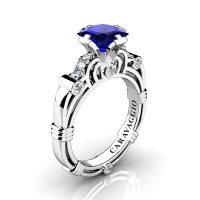 Art Masters Caravaggio 950 Platinum 1.25 Ct Princess Blue Sapphire Diamond Engagement Ring R623P-PLATDBS