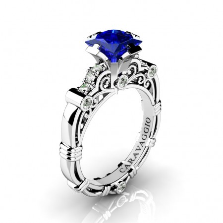 Art-Masters-Caravaggio-950-Platinum-1-25-Ct-Princess-Blue-Sapphire-Diamond-Engagement-Ring-R623P-PLATDBS2-P