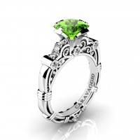 Art Masters Caravaggio 950 Platinum 1.25 Ct Princess Peridot Diamond Engagement Ring R623P-PLATDP