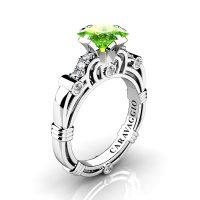 Art Masters Caravaggio 950 Platinum 1.25 Ct Princess Peridot Diamond Engagement Ring R623P-PLATDP