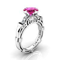 Art Masters Caravaggio 950 Platinum 1.25 Ct Princess Pink Sapphire Diamond Engagement Ring R623P-PLATDPS