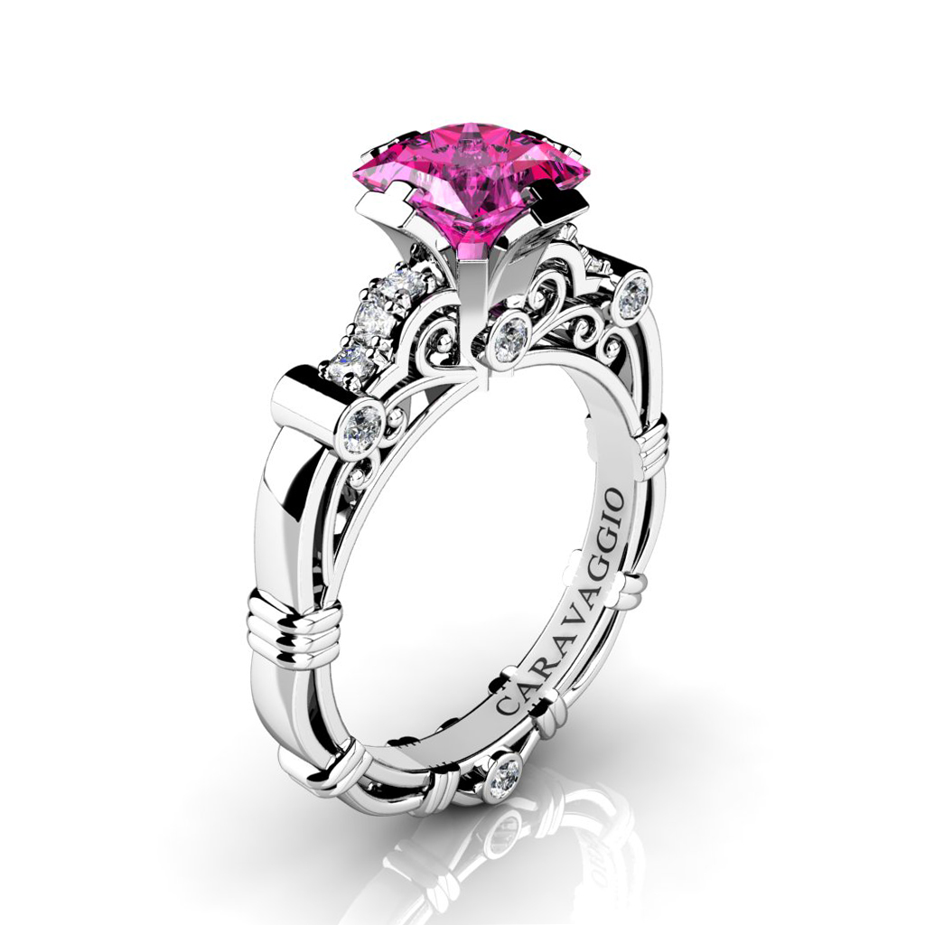 ring white and diamond large sapphire gold context pink p