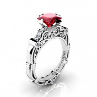 Art Masters Caravaggio 950 Platinum 1.25 Ct Princess Ruby Diamond Engagement Ring R623P-PLATDR