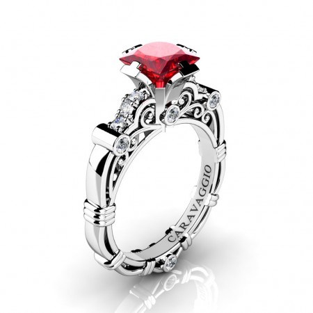 Art-Masters-Caravaggio-950-Platinum-1-25-Ct-Princess-Ruby-Diamond-Engagement-Ring-R623P-PLATDR-P
