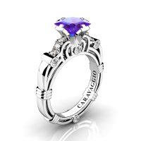 Art Masters Caravaggio 950 Platinum 1.25 Ct Princess Tanzanite Diamond Engagement Ring R623P-PLATDTA