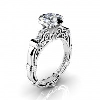 Art Masters Caravaggio 950 Platinum 1.25 Ct Princess White Sapphire Diamond Engagement Ring R623P-PLATDWS