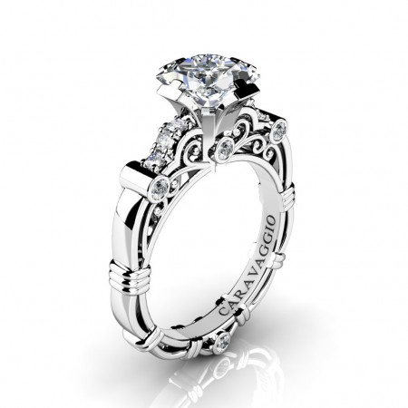 Art-Masters-Caravaggio-950-Platinum-1-25-Ct-Princess-White-Sapphire-Diamond-Engagement-Ring-R623P-PLATDWS-P
