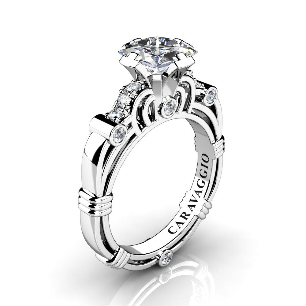 a863e97cd8dd8 Art Masters Caravaggio 950 Platinum 1.25 Ct Princess White Sapphire Diamond  Engagement Ring R623P-PLATDWS