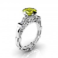 Art Masters Caravaggio 950 Platinum 1.25 Ct Princess Yellow Sapphire Diamond Engagement Ring R623P-PLATDYS