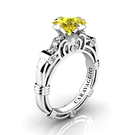 Art-Masters-Caravaggio-950-Platinum-1-25-Ct-Princess-Yellow-Sapphire-Diamond-Engagement-Ring-R623P-PLATDYS-P
