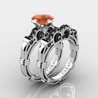 Art Masters Caravaggio 14K White Gold 1.25 Ct Princess Orange Sapphire Black Diamond Engagement Ring Wedding Band Set R623PS-14KWABGBDOS