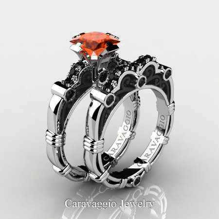 Caravagio-14K-White-Gold-1-25-Carat-Princess-Orange-Sapphire-Black-Diamond-Engagement-Ring-Wedding-Band-Set-R623PS-14KWABGBDOS-P