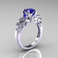 Classic Victorian 950 Platinum 1.0 Ct Blue Sapphire Diamond Angel Solitaire Engagement Ring R482-PLATDBS