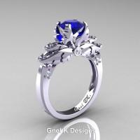 Classic Victorian 950 Platinum 1.0 Ct Blue Sapphire Diamond Angel Solitaire Engagement Ring R482-PLATDBS