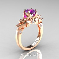 Classic Angel 14K Rose Gold 1.0 Ct Amethyst Diamond Solitaire Engagement Ring R482-14KRGDAM