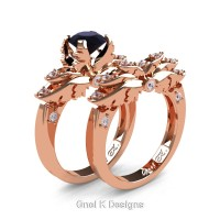 Classic Angel 14K Rose Gold 1.0 Ct Black and White Diamond Angel Engagement Ring Wedding Band Set R482S-14KRGDBD