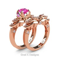 Classic Angel 14K Rose Gold 1.0 Ct Pink Sapphire Diamond Angel Engagement Ring Wedding Band Set R482S-14KRGDPS