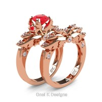 Classic Angel 14K Rose Gold 1.0 Ct Ruby Diamond Angel Engagement Ring Wedding Band Set R482S-14KRGDR