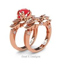 Classic Angel 14K Rose Gold 1.0 Ct Ruby Diamond Angel Engagement Ring Wedding Band Set R482S-14KRGDR