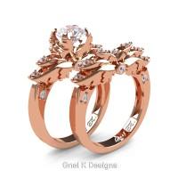 Classic Angel 14K Rose Gold 1.0 Ct White Sapphire Diamond Angel Engagement Ring Wedding Band Set R482S-14KRGDWS