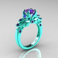 Classic Angel 14K Turquoise Gold 1.0 Ct Amethyst Solitaire Engagement Ring R482-14KTGAM