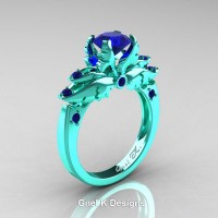 Classic Angel 14K Turquoise Gold 1.0 Ct Blue Sapphire Solitaire Engagement Ring R482-14KTGBS