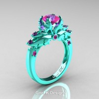 Classic Angel 14K Turquoise Gold 1.0 Ct Pink Sapphire Solitaire Engagement Ring R482-14KTGPS