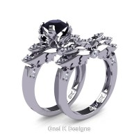 Classic Angel 14K White Gold 1.0 Ct Black and White Diamond Angel Engagement Ring Wedding Band Set R482S-14KWGDBD
