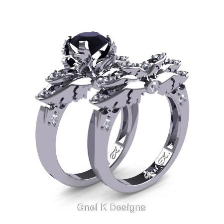 Classic-Angel-14K-White-Gold-1-Ct-Black-White-Diamond-Solitaire-Engagement-Ring-Wedding-Band-Set-R482S-14KWGDBD-P2