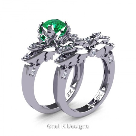 Classic-Angel-14K-White-Gold-1-Ct-Emerald-Diamond-Solitaire-Engagement-Ring-Wedding-Band-Set-R482S-14KWGDEM-P3