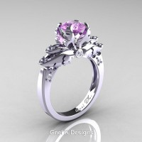 Classic Angel 14K White Gold 1.0 Ct Lilac Amethyst Diamond Solitaire Engagement Ring R482-14KWGDLAM