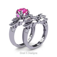 Classic Angel 14K White Gold 1.0 Ct Pink Sapphire Diamond Angel Engagement Ring Wedding Band Set R482S-14KWGDPS