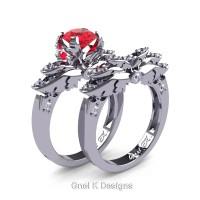 Classic Angel 14K White Gold 1.0 Ct Ruby Diamond Angel Engagement Ring Wedding Band Set R482S-14KWGDR