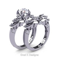 Classic Angel 14K White Gold 1.0 Ct White Sapphire Diamond Angel Engagement Ring Wedding Band Set R482S-14KWGDWS