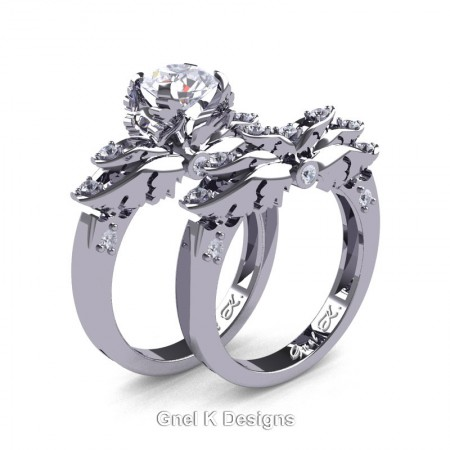 Classic-Angel-14K-White-Gold-1-Ct-White-Sapphire-Diamond-Solitaire-Engagement-Ring-Wedding-Band-Set-R482S-PLATDWS-P4