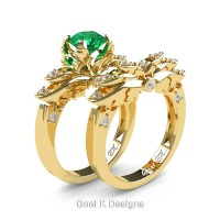 Classic Angel 14K Yellow Gold 1.0 Ct Emerald Diamond Angel Engagement Ring Wedding Band Set R482S-14KYGDEM