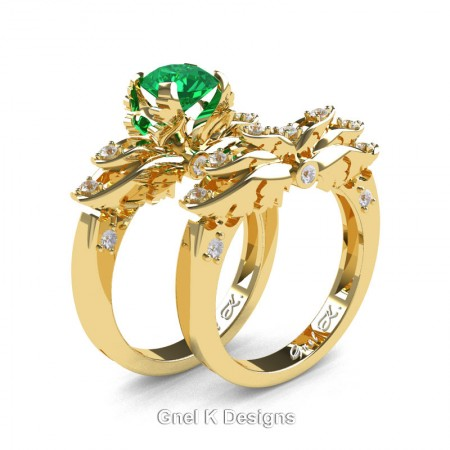 Classic-Angel-14K-Yellow-Gold-1-Ct-Emerald-Diamond-Solitaire-Engagement-Ring-Wedding-Band-Set-R482S-14KYGDEM-P