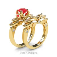 Classic Angel 14K Yellow Gold 1.0 Ct Ruby Diamond Angel Engagement Ring Wedding Band Set R482S-14KYGDR