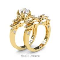 Classic Angel 14K Yellow Gold 1.0 Ct White Sapphire Diamond Angel Engagement Ring Wedding Band Set R482S-14KYGDWS