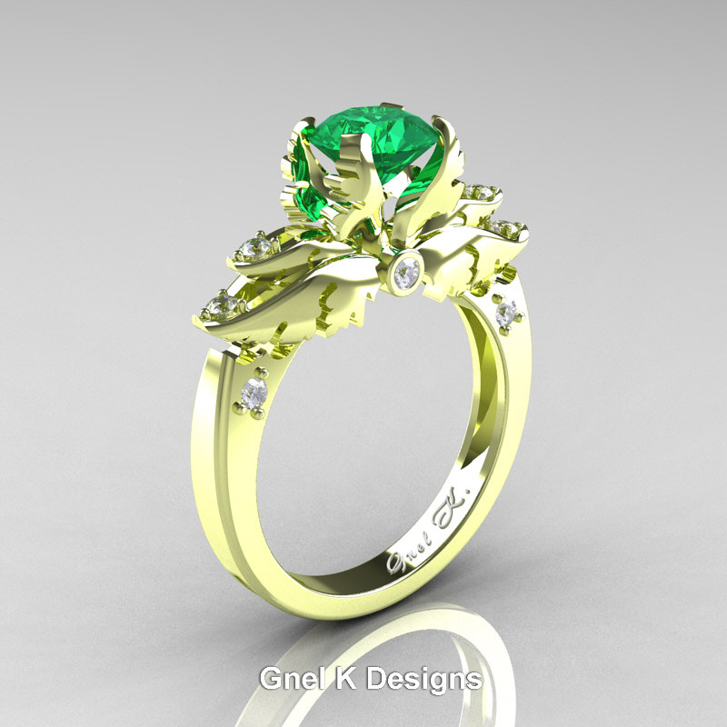 Classic Angel 18K Green Gold 1 0 Ct Emerald Diamond Solitaire Engagement  Ring R482-18KGGDEM